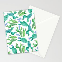 Watercolor hand painted violet green cactus floral Stationery Cards