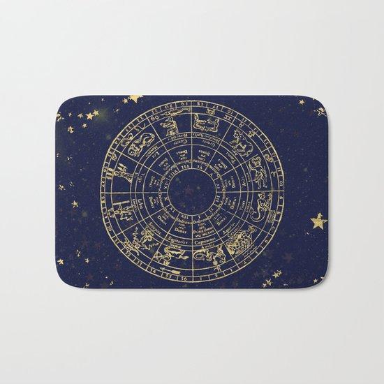 Metallic Gold Vintage Star Map Bath Mat