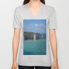 Etretat Cliff Normandy Sea Beach France Unisex V-Neck