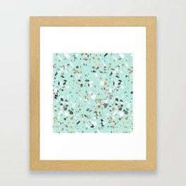 Glitter and Grit Marble Mint Green Framed Art Print