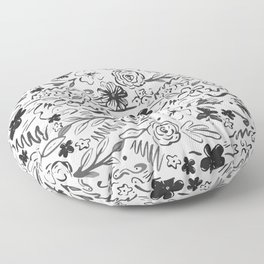 Stylish abstract brush strokes and floral doodles design Floor Pillow