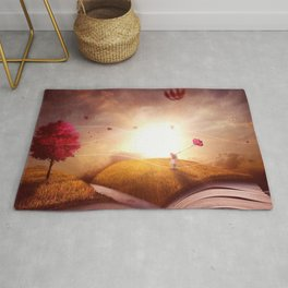 Magnificent Fantasy World Little Girl Story Book Pages Sunset Dreamland UHD Rug