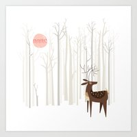 silver Art Prints featuring Reindeer of the Silver Wood by Poppy & Red