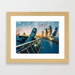 Giant Stone Hands, Golden Bridge, Vietnam Framed Art Print
