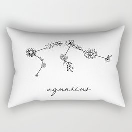 Aquarius Floral Zodiac Constellation Rectangular Pillow