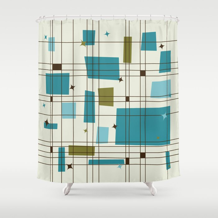 Mid-Century Modern (teal) Shower Curtain