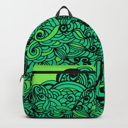 Squirrels Zentangle Drawing Green Backpack