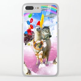 Cat Riding Llama With Sundae And Jelly Beans Clear iPhone Case