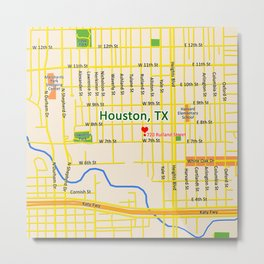 Map of Houston TX #1 Metal Print