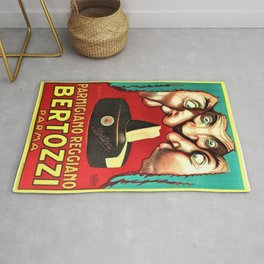 Vintage Parmigiano Reggiano Bertozzi Cheese Advertisement Wall Art Rug