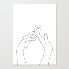 Hands line drawing illustration - Abi Canvas Print