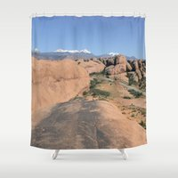 utah Shower Curtains featuring Moab Utah by BACK to THE ROOTS