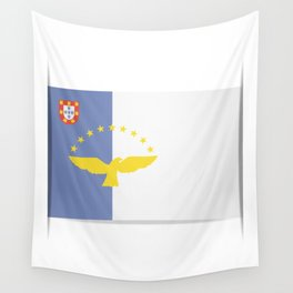 Flag of Azores. The slit in the paper with shadows. Wall Tapestry