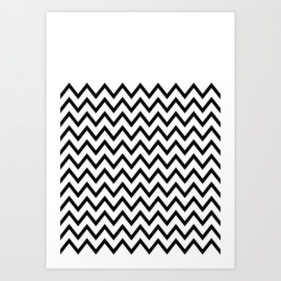 Black Chevron On White Art Print