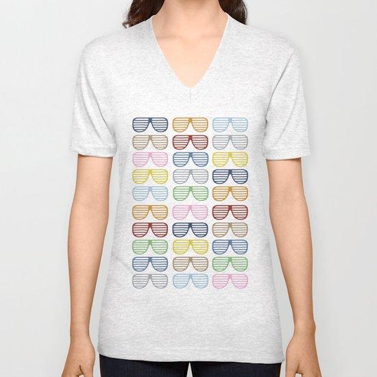 Rainbow Shutter Shades Unisex V-Neck
