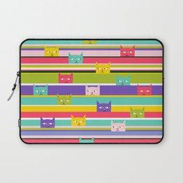 Colorful Peeking Cats on stripes Laptop Sleeve