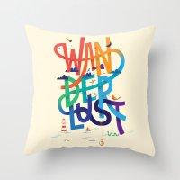 wanderlust Throw Pillows featuring Wanderlust by Wharton