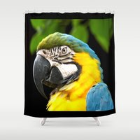 parrot Shower Curtains featuring Parrot by JJ Hunter