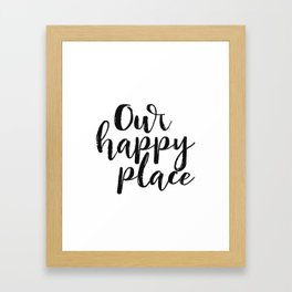 Our Happy Place Printable Kitchen Wall Art Digital Download Love Quote Black and White Large Poster Framed Art Print