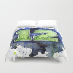 12th Man Seahawks Seattle Go Hawks Art Duvet Cover