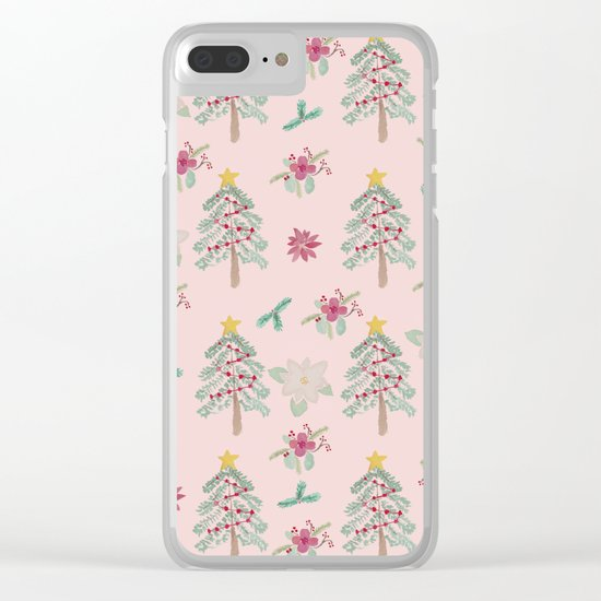Christmas Pattern Pink Clear iPhone Case