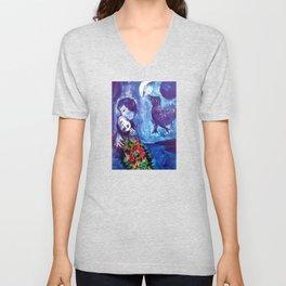 Marc Chagall, Le Paisage Bleu 1949 Artwork, Posters Tshirts Prints Bags Men Women Kids Unisex V-Neck