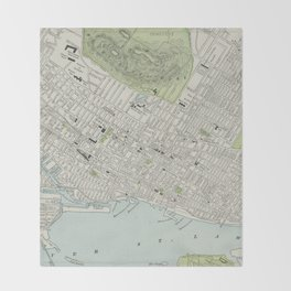 Vintage Map of Montreal (1901) Throw Blanket
