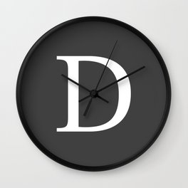 Very Dark Gray Basic Monogram D Wall Clock