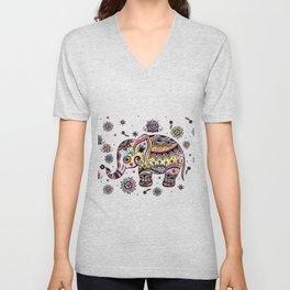 Cute Colorful Elephant Illustration Unisex V-Neck