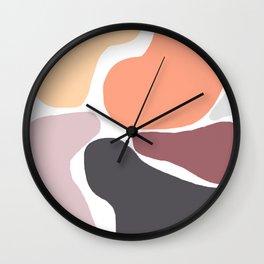 Big Bright Blobs in Peach and Grey Wall Clock