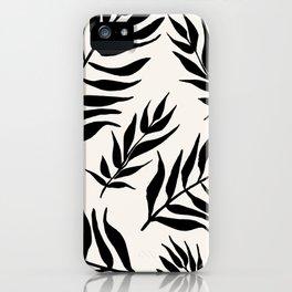 Black Palm Leaves Pattern iPhone Case