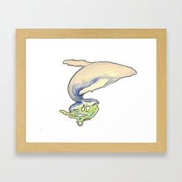 Humpback whale jump Framed Art Print