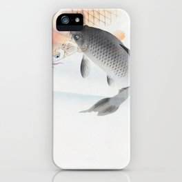 Old Vintage Red And Grey Koi In Water Illustration iPhone Case