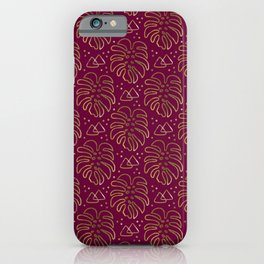 Gold Monstera on Purple iPhone Case