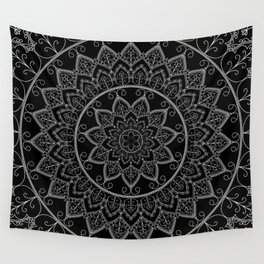 Black and White Lace Mandala Wall Tapestry