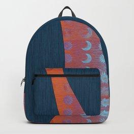 Digital Blue Denim and Glowing Orange Moon and Star Backpack