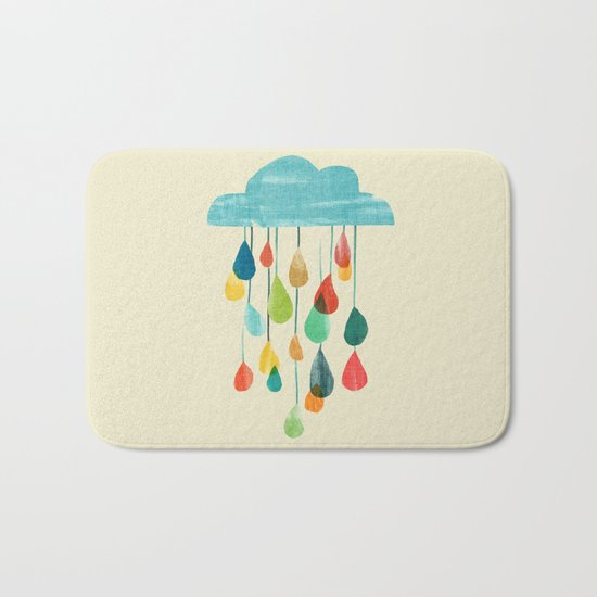 cloudy with a chance of rainbow Bath Mat