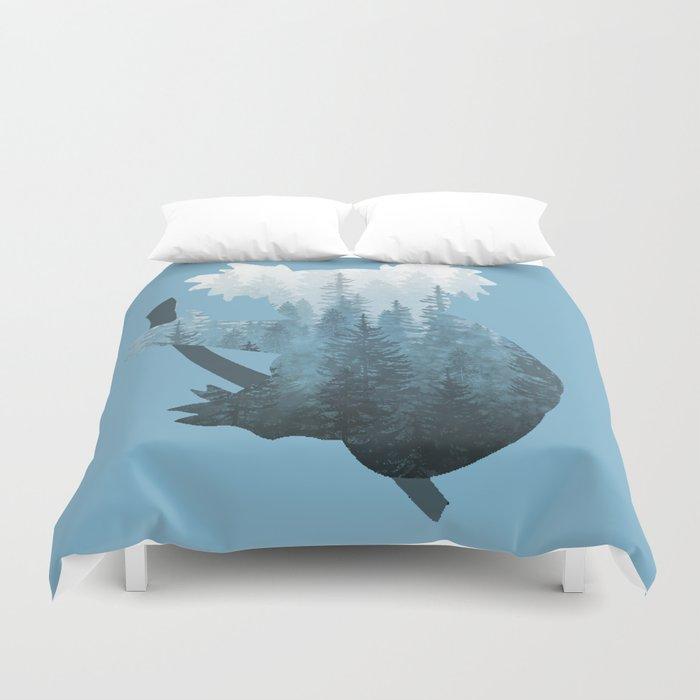 Misty Forest Koala Bear - Blue Duvet Cover