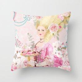 Marie Antoinette Flower Tea Throw Pillow
