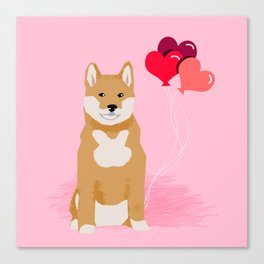 Shiba Inu balloons hearts love valentines day must have dog breed shiba inus gifts Canvas Print