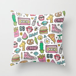 90's Vintage Patches Stickers Doodle Throw Pillow