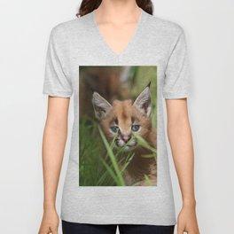 caracal kitten Unisex V-Neck