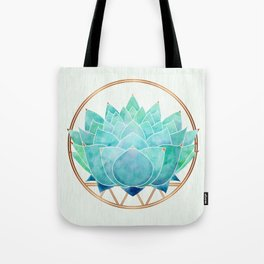 Modern Blue Succulent with Metallic Accents Tote Bag