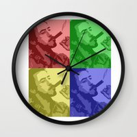 robert downey jr Wall Clocks featuring Robert Downey Jr by Mental Activity