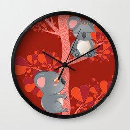 Cartoon couple of koala bears, lovely Valentines day illustration Wall Clock