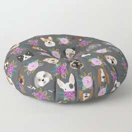 Dogs and cat breeds pet pattern cute faces corgi boston terrier husky airedale Floor Pillow