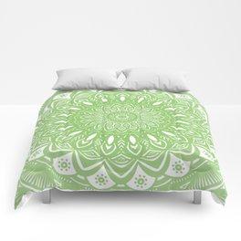 Light Lime Green Mandala Simple Minimal Minimalistic Comforters