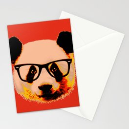 Panda with Nerd Glasses in Red Stationery Cards