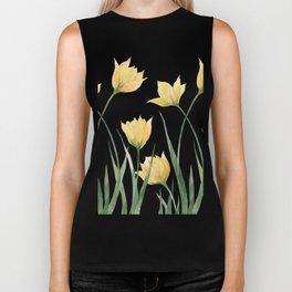 Yellow Woodland Tulips Biker Tank