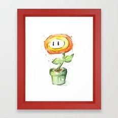 Fireflower Mario Watercolor Framed Art Print
